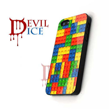 Colorful Lego Pattern - iPhone 4/4s/5 Case - Samsung Galaxy S3/S4 Case - Black or White