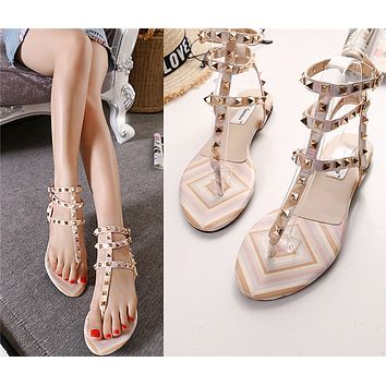 Women Fashion Personality Rivet  Hollow Sandals Flats Shoes
