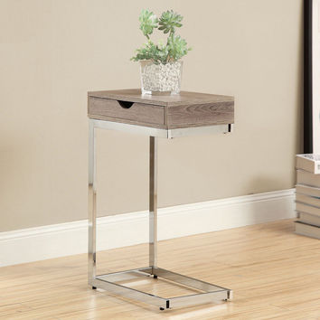 Dark Taupe Hollow Core Chrome Metal Accent Table | Overstock.com Shopping - The Best Deals on Coffee, Sofa & End Tables