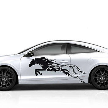fire horse car hood decal fire horse Car Decals fire horse Car Truck fire horse Side Body Graphics Decal horse Sticker for car kikcar61
