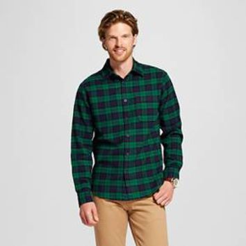 Men's Plaid Crepe Flannel Button Down Shirt Green - Merona™