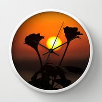 Romantic Rose Sunset Wall Clock by Karl Wilson Photography