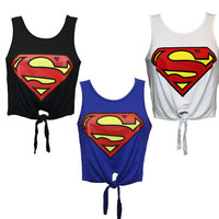 SUPERMAN LOGO PRINTED CROP TIE TOP
