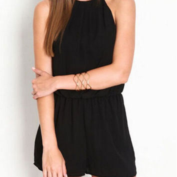 Black Elastic Waist Cut Out Chiffon Romper