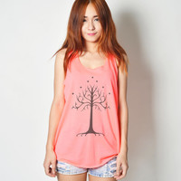 White Tree of Gondor The Lord of Rings Shirts Flowy Graphic Girls Womens Neon Tank Tops Tshirts