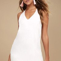 On the Terrace White Halter Dress