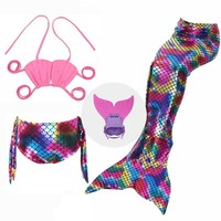 Swimmable Mermaid Tails For Girls Cosplay 3-12 Years Mermaid Tail Cosplay For Swimming Girls Mermaid Swimsuit