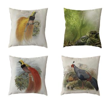 Cute Peacock White Throw Pillow Cases