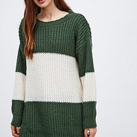 BDG Stripe Jumper in Green and White - Urban Outfitters