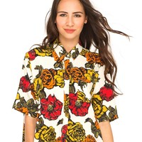 Motel Leigh Cropped Box Shirt in Museum Floral Ochre
