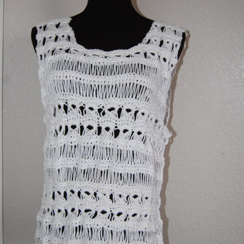 Crochet Tank Top in Broomstick Lace White Cotton Size Large