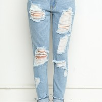 DESTROYED BOYFRIEND DENIM JEANS
