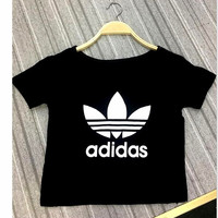 """Adidas"" Sexy Print Letter Short Shirt Crop Tops Black"