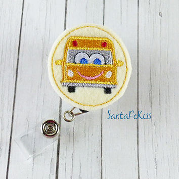 School Bus Badge Holder w Retractable Badge Reel.  School Bus Felt ID Badge Reel, Lanyard Id Badge Holder, gift for your school bus driver