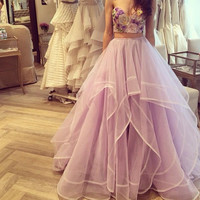 Purple Two Piece Prom Dresses 2016 Sweetheart Sequined Embroidery Bodice Tulle Wedding Party Dress robe de bal de finissant E9
