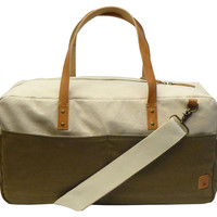 Two-Tone Canvas Duffel Bag, Khaki, Duffels