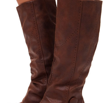 Tan Overlay Tall Button Boot