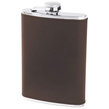 8oz Stainless Steel Flask with Genuine Brown Leather Wrap
