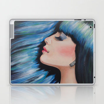 Blue Mermaid Dreams Colorful Figurative Contemporary Art Laptop & iPad Skin by WinchesterWendy | Society6