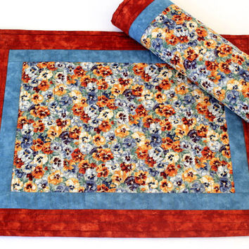 Quilted Placemats - Pansies Placemats - Floral Table Mats - Blue Rust Placemats - Handmade Table Linens - Set of 2 placemats - Hostess Gift