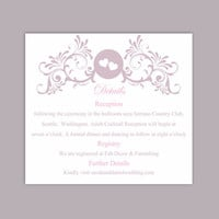 DIY Wedding Details Card Template Editable Word File Instant Download Printable Details Card Lavender Details Card Elegant Information Cards