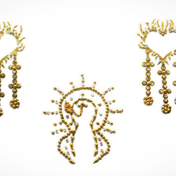 Exotic Golden Pasty Non Piercing Nipple Pasties Jewels Crystals Rhinestones.  !!FREE SHIPPING !!