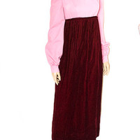 Vintage 60s Pink and Red Color block Velvet Maxi Dress S/M Sale 50% off