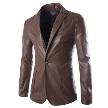 Men's Leather Jackets Solid Casual Washed Slim Fit Coat 13M0376