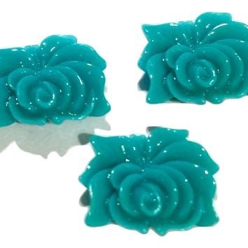 Turquoise green flower resin cabochon 12x9mm / 1-5 pieces