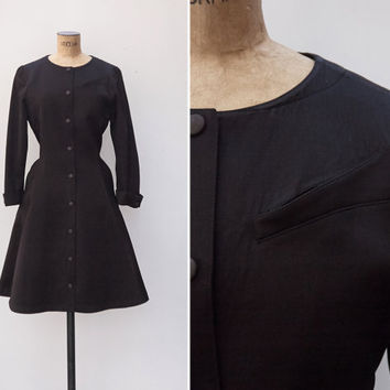 1980s Dress - Vintage 80s Thierry Mugler Dress - Black Jersey Plain Minimalist Dress
