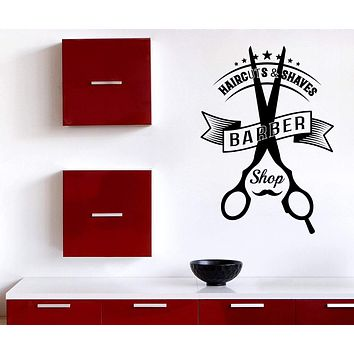Vinyl Decal Wall Sticker Barber Tools Haircuts Shaves Beauty Salon Decor Unique Gift (n883)