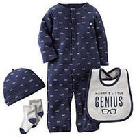 Carter's Boys 4 Piece Navy Glass Printed Coverall with Matching Hat, Grey Socks and