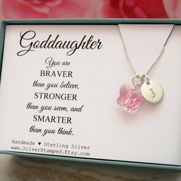 Goddaughter gift for god daughter necklace sterling silver initial Swarovski butterfly unique personalized birthday gift from godmother