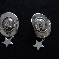 925 Sterling Silver Cowgirl Cowboy Hat Western Earrings with Star