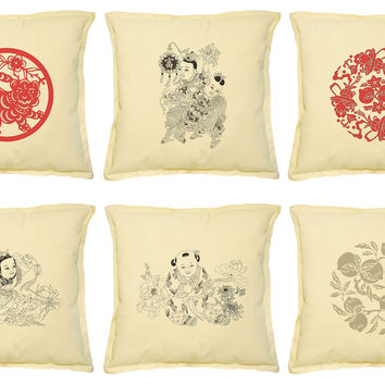 Set of Traditional Chinese Pattern Print Decorative PillowCase VPLC_02 Size18x18