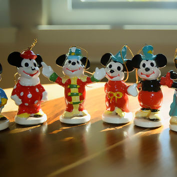 RARE Mickey Mouse 1970s Christmas Ornaments Set of 6