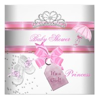 Baby Shower Girl White Pink Princess Tiara Magical