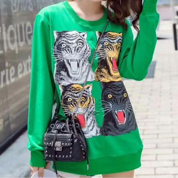 One-nice™ Gucci Tiger Head Fashion Loose Long Sleeve Knit Sweater Top Green