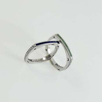 Stackable Rings - Sterling Silver Square Rings Size 9 - Ava Yetter Blue Lapis Ring - Square Malachite Sterling Silver Ring