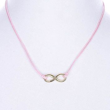 Pink Cord Necklace with Gold Metal Infinity