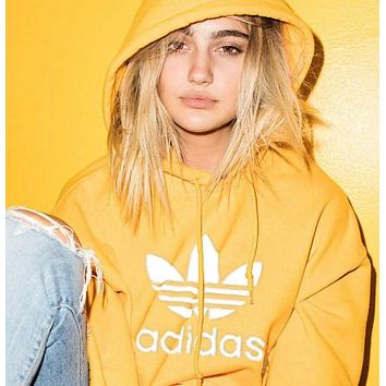 """Adidas"" Women Fashion Hooded Top Pullover Sweater Sweatshirt Hoodie Yellow"