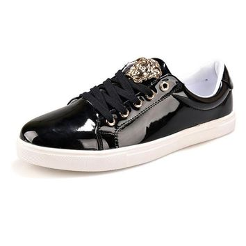 Versace Fashion Women Men Personality High Help Low Help Sneakers Running Sports Shoes Black Low Help