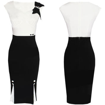 White and Black Color Block Bodycon Midi Dress with Bow