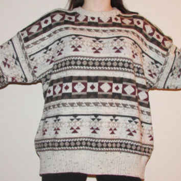 OVERSIZED VINTAGE SWEATER tumblr brown winter geometric stripes cozy fall