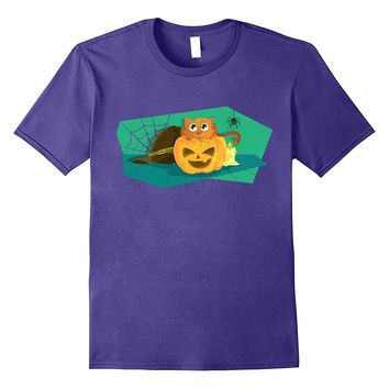 Cute Cat- Pumpkin- Spider and Witches Hat Shirt
