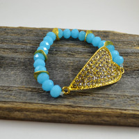Gold heart bracelet, pave bracelet, beaded stretch bracelet, Gold stretch bracelet, ocean blue jewelry, blue crystal bracelet, pave heart