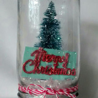 Christmas Mason jar,  Christmas tree,  Christmas scene.