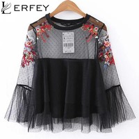 LERFEY Women Sexy Flower Embroidery Mesh Shirts With Lining Flare Sleeve Ruffles Blouse Shirt Transparent Casual Tops Blusas