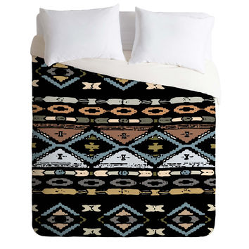 Romi Vega Native Pattern Black Duvet Cover