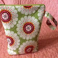 Quilted Project Bag - Crochet Project Bag - Knitting Project Bag - Bright Floral Zipper Pouch